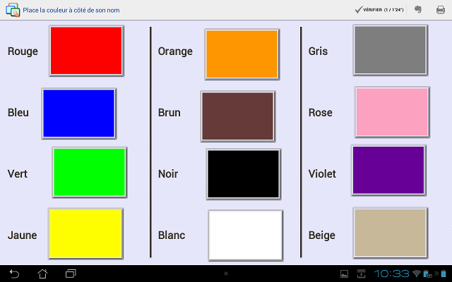 Quelques exemples d 39 exercices etigliss - Association de couleurs ...